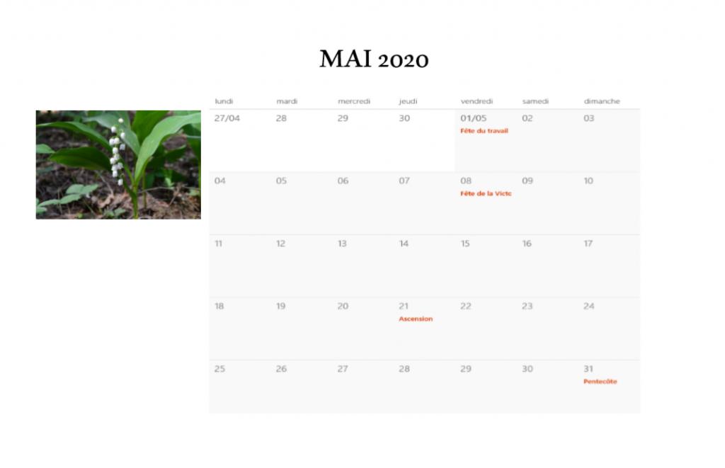 Calendrier des Jours Fériés 2020