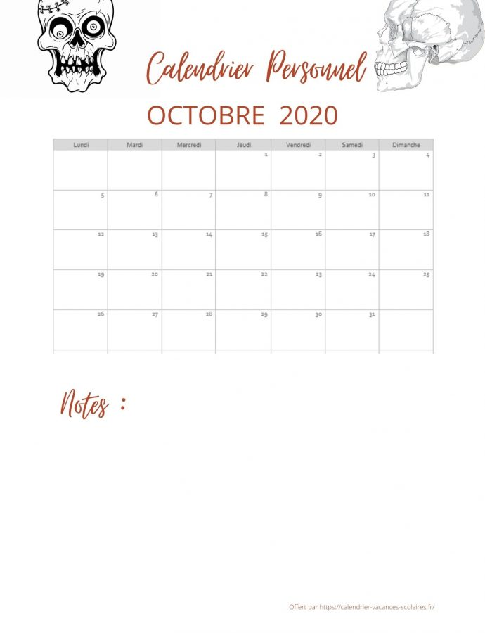 Calendrier d'Octobre 2020 spécial Halloween