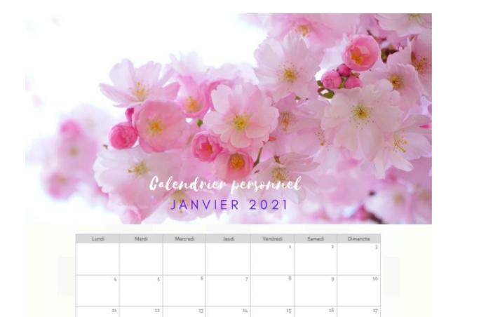 Calendriers Mensuels thème Fleurs de Cerisier