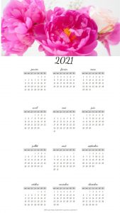 Calendriers  annuels sur le Thème des Fleurs